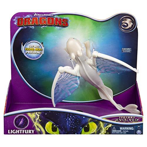 Dreamworks Dragons 6052264 - Movie Line Deluxe Dragons, Lightfury (Solid) mit Licht- und Soundeffekten, Actionfigur, Drachenzähmen leicht gemacht 3, Die geheime Welt