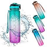 Botella de Agua Deportiva, Weinsamkeit 1000ML Botella Agua Tritan sin BPA con Marcador de Tiempo Motivacional, 1 Litro Water Bottle para Gimnasio, Entrenamiento, Viajes, Oficina, Escuela (Green)
