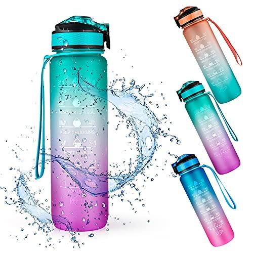 Botella de Agua Deportiva, Weinsamkeit 1000ML Botella Agua Tritan sin BPA con Marcador de Tiempo Motivacional, 1 Litro Water Bottle para Gimnasio, Entrenamiento, Viajes, Oficina, Escuela (Gree