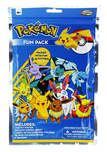 Creative Kids Pokemon Activity and Fun Pack with 24 Page Coloring Book, 1 Velvet Poster, Small Stencils and 17 Holographic Stickers