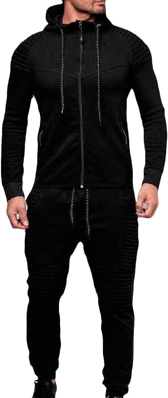 TaoNice Mens Pocket LongSleeve Zip Slim Hooded Draped Fleece Sweatsuit