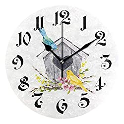Tarity Heart Birds House Wall Clocks Battery Operated Silent Non Ticking Modern Round Wall Clock Decor for Bedrooms Kitchen Living Room Classroom Office Farmhouse