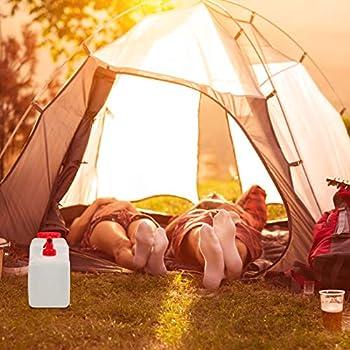 Relaxdays Jerricane d?Eau avec Robinet, Couvercle à Visser, bidon à Eau de Camping, 12 L, sans BPA, Blanc-Rouge