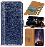 YNLRY Étui à rabat magnétique en cuir texturé pour iPhone 11 6,1' Bleu