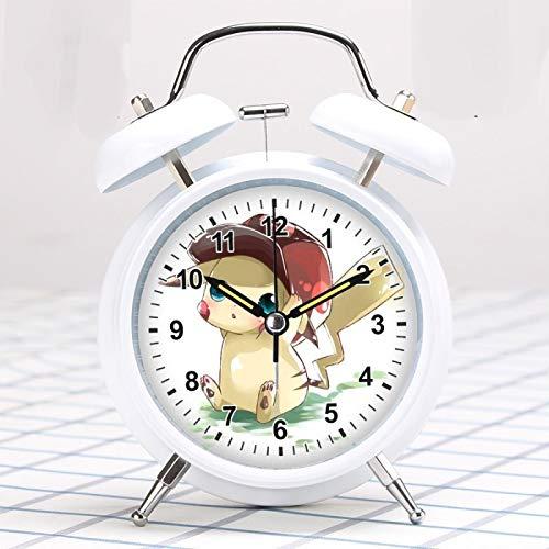 Pokemon despertador Pikachu pequeño reloj despertador super fuerte dibujos animados lindo niños especial estudiante silencioso luz nocturna alarma
