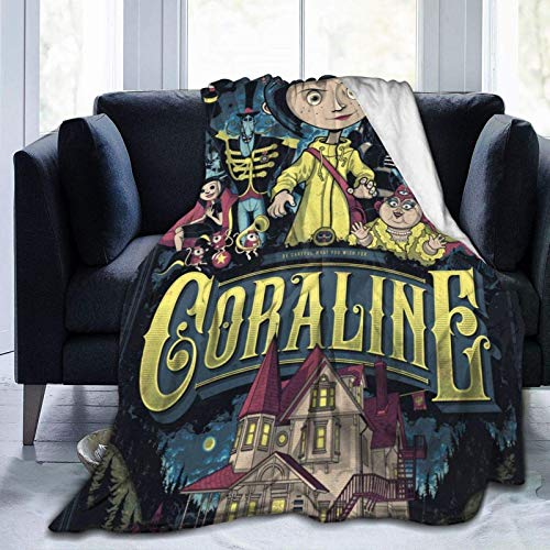 Co-ra-li-ne - Manta de forro polar ultra suave con dibujos animados para decoración del hogar, dormitorio, sala de estar, manta para sofá, cama y sofá para adultos y niños niñas de 50 x 60 pulgadas