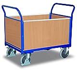 Vierwandwagen mit Holz RAL5010 Enzianblau Rungenwagen Plattformwagen