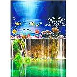 Amakunft 50 cm de alto x 102 cm de ancho, adhesivo para fondo de acuario, doble cara, papel pintado para fondo de tanque de peces (Seascape & Lake)