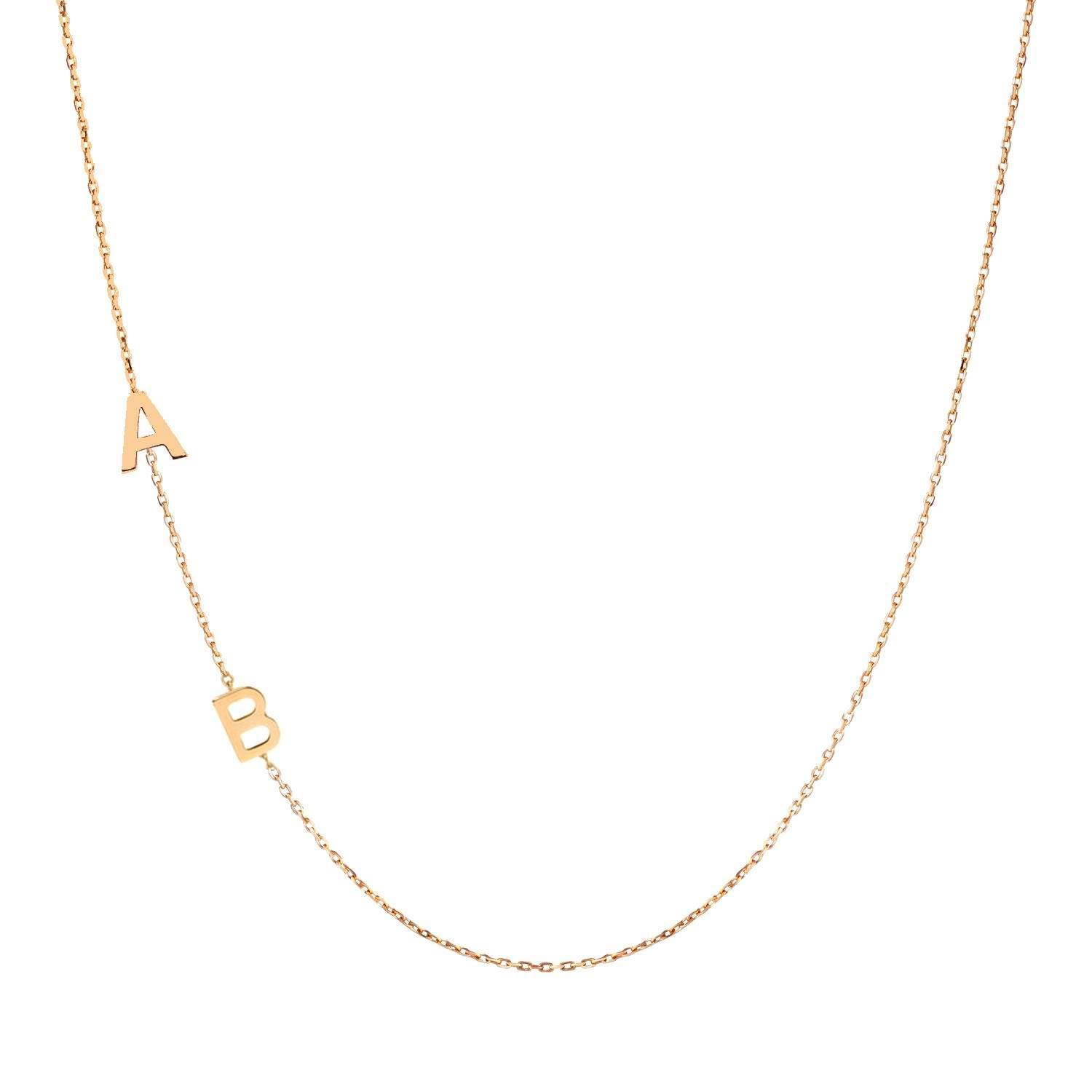 14k Gold All items free shipping Sideways Initial Letter Sacramento Mall Necklace Multi Customized