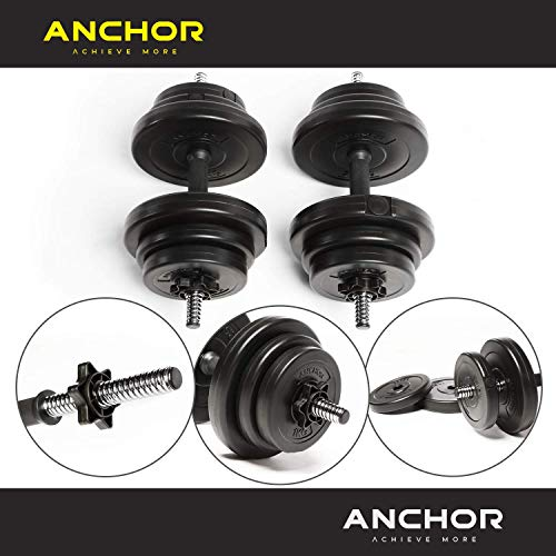 Anchor's Adjustable 20kg Dumbbells Weights set for Men Women, Dumbbell hand weight Barbell Perfect for Bodybuilding fitness weight lifting training home gym equipment free weights (20KG)