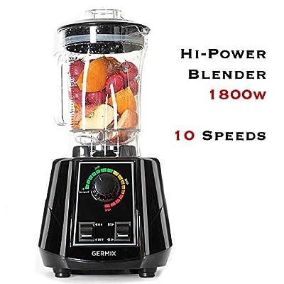 Germix Blender Mixer Professional Blenders 1800-Watt High Power 10 Speed Countertop Blenders Base Blenders for making smoothies and shakes