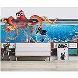 Papel tapiz fotográfico 3d mural pecera pulpo acuario TV fondo decoración del hogar sala de estar papel tapiz 3d 350x250cm