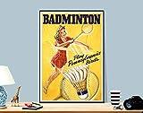 Poster Badminton, Vintage-Tennissport, ungerahmt, Leinwand,