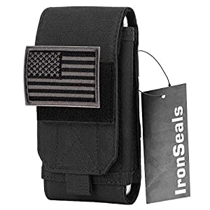 IronSeals Tactical Molle Mobile Phone Cover Case, Heavy Duty Loop Belt Holster Pouch with Flag Patch for iPhone 12 Pro…