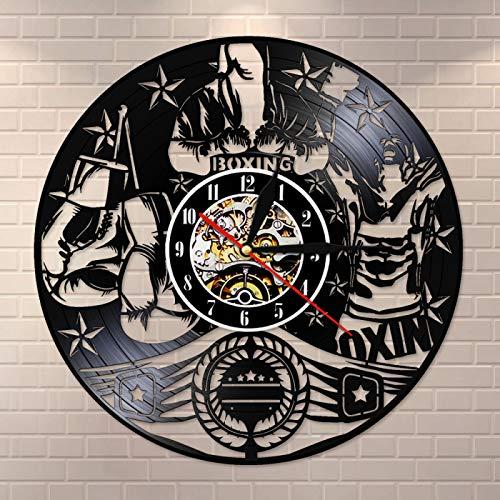 YINU Boxing Modern Silent Vinyl Record LP Reloj de Pared Reloj Lucha Deportes Arte Pugilista Hombre Cueva Motivación Varonil Decoración Boxers Regalo