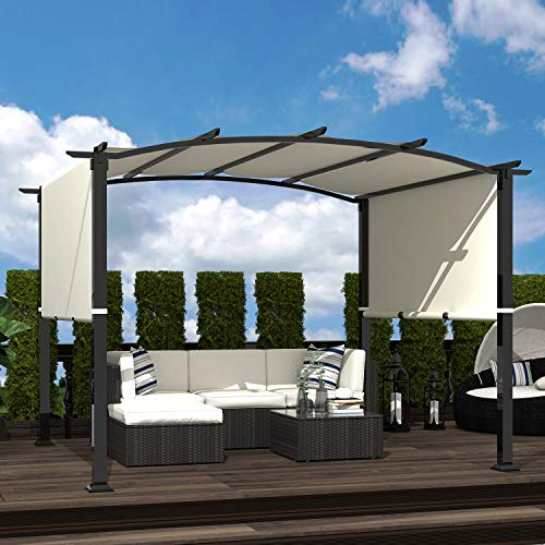 Homevibes Outdoor Pergola 8 x 10 Pergola with Canopy Arched Pergola Steel Pergola with Adjustable Shade, Beige