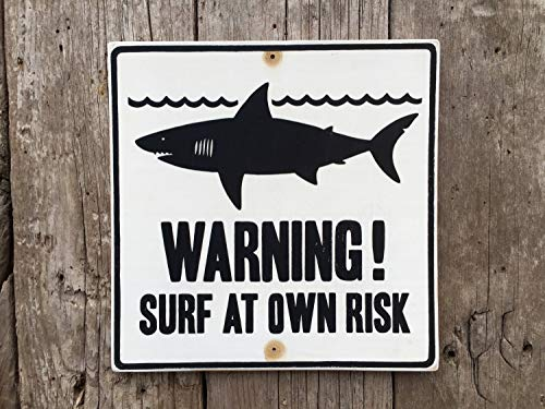 43LenaJon Cartel de tiburón para surf hecho a mano con pantalla impresa tabla de surf Surfer Tropical Beach Shark Attack Señal de advertencia Ocean Vinta