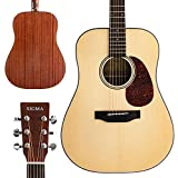 """SIGMA 41"""" Acoustic Guitar, Dreadnought, 4/4 Full-Size, with D'Addario EXP16 Strings, Solid Spruce Top, Natural Gloss, Mahogany Back & Sides,Right(10D)"""