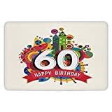 BagsPillow Bathroom Bath Rug Kitchen Floor Mat Carpet,60th Birthday Decorations,Modern Geometric Fairytale Theme Castle Boat Sixty Party Image,Multicolor,Flannel Microfiber Non-Slip Soft Absorbent