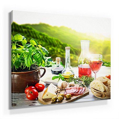 Küchen Bild B350, 1 Teil 50x50cm Leinwand auf Holzrahmen aufgespannt, FineArt Print, UV-stabil und wasserfest, Kunstdruck für Büro oder Wohnzimmer, Deko Bild, mediterranes Frühstück