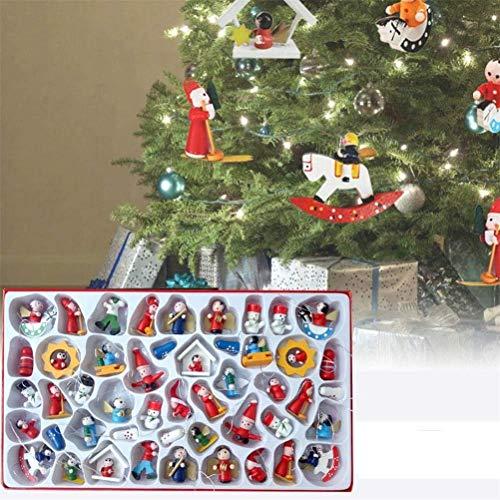 sdgfd Wunderschöner Holz Baumbehang als 48er Set, Weihnachtsanhänger Weihnachtsmann Schneemann Engel Schaukelpferd Baumschmuck Weihnachten Deko Anhänger