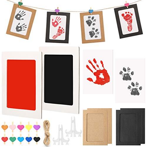 Hipeqia Kit de Huellas bebe Pie y Manos, Tinta Safe For Baby Clean-touchun, Ideal para Recuerdos Familiares, Viene con marco de fotos, Cuerda, Clip en forma de corazón
