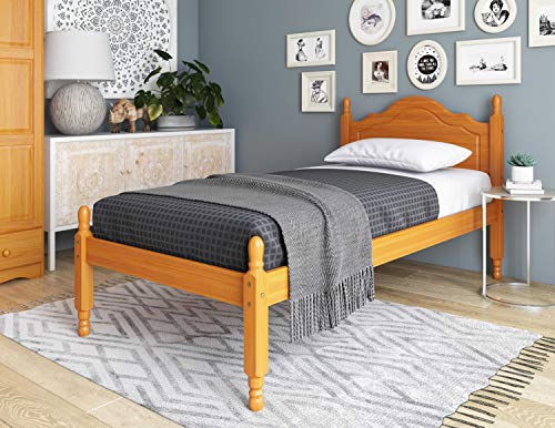 100% Solid Wood Reston Panel Headboard Platform Bed 1434 by Palace Imports, Twin Size, Honey Pine Color, 12 Slats Included. Optional Trundle, Drawers, Rail Guard Sold Separately.