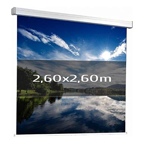 KIMEX 041-3626 Pantalla de proyección manual 2,60 x 2,60 m, Formato 1:1, Tela blanca