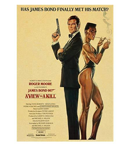 PCWDEDIAN Vintage James Bond Filmplakat 007 Retro Leinwand Wandplakat Für Zuhause/Raum/Bar Gemälde Wanddekoration F146 42X30Cm