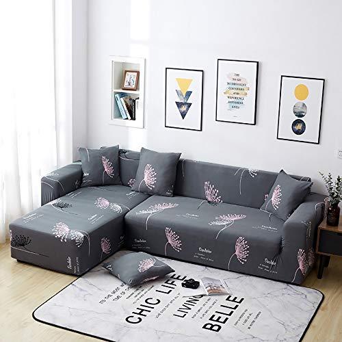 Cubierta para Sofa Funda De Sofá L-Forma Chaise Longue Seccional Slipcover 1 2 3 4 plazas con Funda de Almohada elástica Estampada Cuatro Estaciones Propósito General