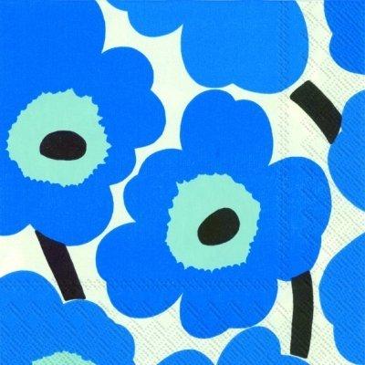 Marimekko - Cocktail-Servietten Unikko blue 25 x 25 cm