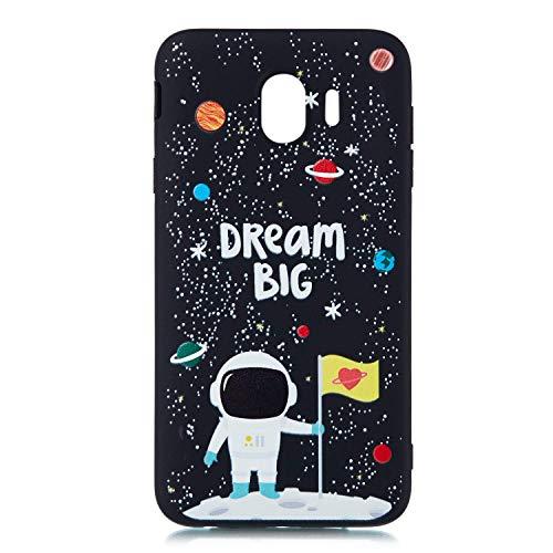 HongYong Galaxy J4 Cover Black, Samsung Galaxy J4 3D Ultra Slim Thin Soft TPU Silicone Flexible Back Bumper [Shock Absorption] Protection Case for Samsung Galaxy J400 - Protector