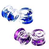 Qmcandy 4pcs Acrylic Liquids Floating Glitter Star Ear Plug Gauge 0g Piercing