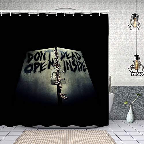 ZUL Cortina Ducha Impermeable,Zombies Terrible Hands The Walking Dead Único,Impresión de Cortinas baño con 12 Ganchos 180x180cm