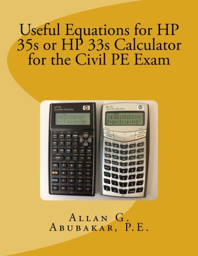 Price comparison product image Useful Equations for HP 35s or HP 33s Calculator for the Civil PE Exam