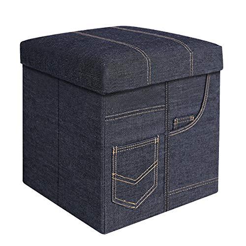 BRIAN & DANY Baúl Puff Taburete Plegable de Almacenamiento Banco Otomano Asiento, Azul Vaquero, 30 x 30 x 30 cm