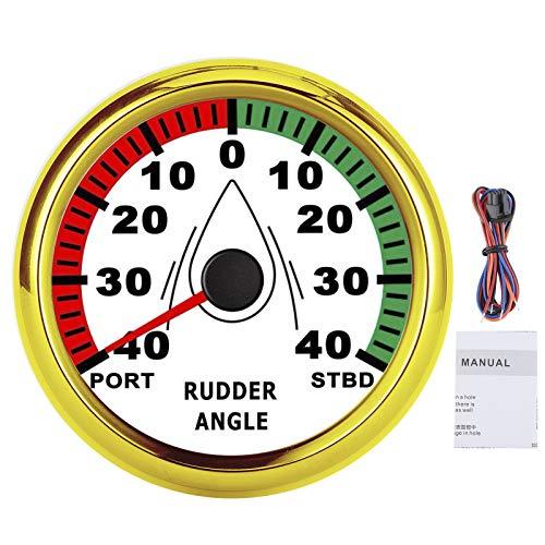 KIMISS Ruderwinkelanzeige-Messgerät , 9-32 V 85 mm Ruderwinkelmesser mit mehrfarbiger, hintergrundbeleuchteter IP67-Richtung einstellbar(Goldrahmen auf Weiß)