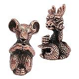 joyMerit 2 Pezzi Mini Formato Ratto Rame E Drago Incenso Bruciatore Cinese Dodici Zodiaco Animale Ornamenti Fortunati Ufficio Feng Shui Arredamento