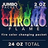 CHROMO FLAME Fire Color Changing Packets for Fire Pit, Campfire, Bonfire, Outdoor Fireplace | Magic, Colorful, Rainbow, Mystic Flames | 24 oz Total, 12-2 oz Jumbo Packets