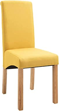 vidaXL 6X Dining Chairs Living Room Home Kitchen Dinner Restaurant Seating Seat Yellow Fabric