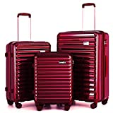 """Coolife Luggage Suitcase 3 Piece Set expandable (only 28"""") ABS+PC Spinner suitcase with TSA Lock carry on 20 in 24in 28in"""