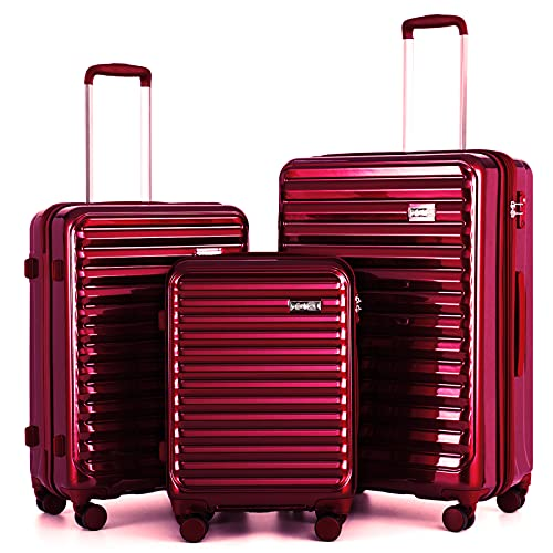 Coolife Luggage Aluminium Frame Suitcase Set