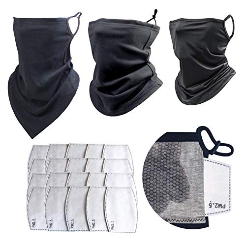 Balaclava Face Mask - New Winter Range 3 Pack with 20 PM 2.5 Filters - Comfortable Cooling Neck Gaiter with Filter and Ear Loops, Bandana Face Mask Black, Fleece face mask, Outdoor Mask with Filters.