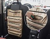 MDSTOP Rullo per attrezzi grande, portautensili arrotolabile, in tela cerata, per riporre attrezzi, borsa porta attrezzi per il sedile posteriore dell'auto, organizer per sedile posteriore (kaki)