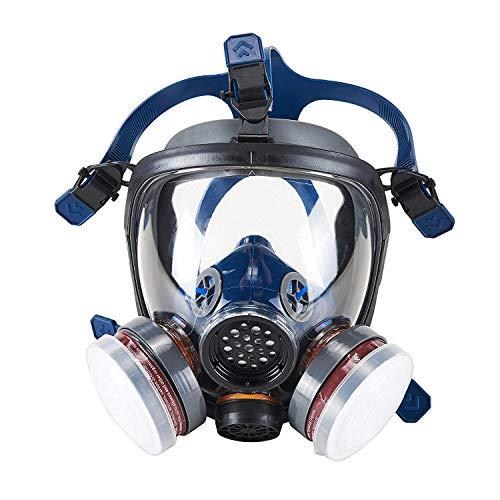 OHMOTOR Respiratore Pieno Facciale per Vapori Organici con CE Certificazione Maschera di Protezione per il Viso per Vernice Polvere(Respiratore)