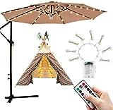 Luces de parasol | Luces de sombrilla para patio con 104 luces LED de cadena con control remoto 8 modos Luces de jardín impermeables para fiesta Navidad Decoración de Halloween Funciona con baterías