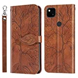 【Mobile Phone Case】Replace the Old, Damaged for Google Mobile Phone Shell 【Fashion】Fashionable Mobile Phone Case Can Make Your Phone More Fashionable Mobile Phone Protection Case For Google Pixel 4a 5G Life of Tree Embossing Pattern Horizontal Flip L...