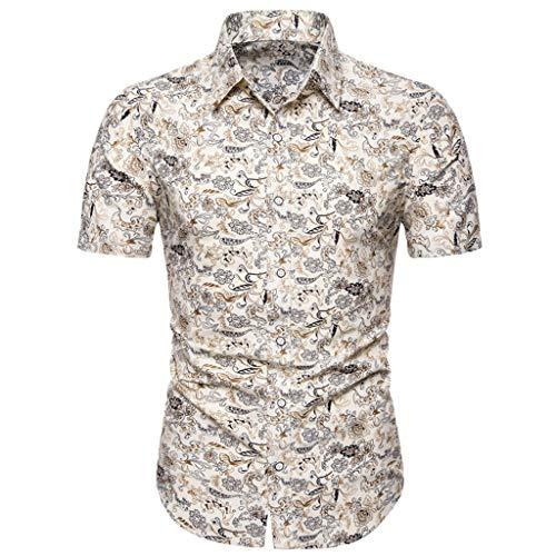 ZODOF Camisetas Hombre Mangas Corta Algodon Lino Estampada Vintage Hawai Tallas Grandes...