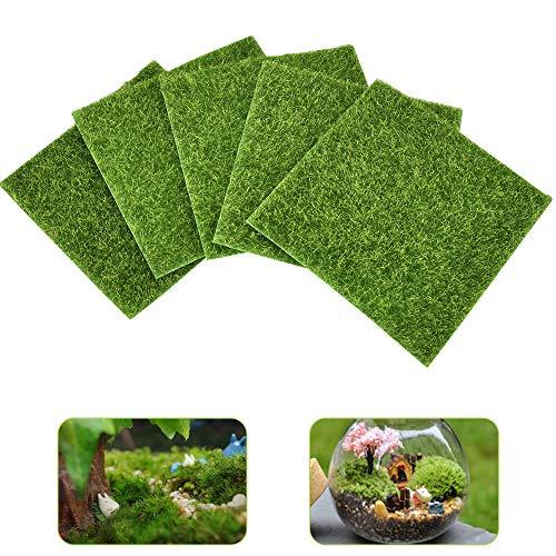DECARETA Tappetino per erba artificiale 15X15CM muschio di zolle finte da giardino 5 pezzi erba da giardino in plastica verde chiaro, artigianato in plastica, ornamenti micro paesaggio, prato in erba