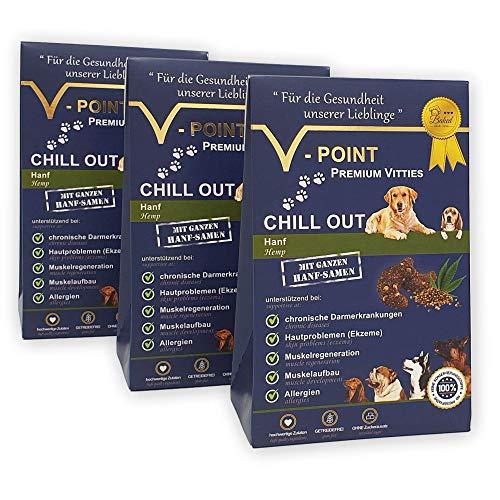 V-POINT Premium Vitties für Hunde HANF, für Muskelaufbau, Muskelregeneration, bei Darmerkrankung, Hautprobleme, Allergien, ohne Zucker Zusatz, getreidefrei, Alternative zu Hundeleckerlie (3X 250g)